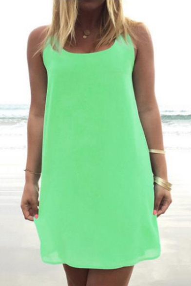 Summer Trendy Simple Plain Sleeveless Bow-Tied Back Mini Beach Tank Dress