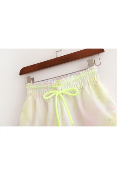 Summer Unique Yellow Tie Dye Drawstring Elastic Waist Loose Sport Shorts