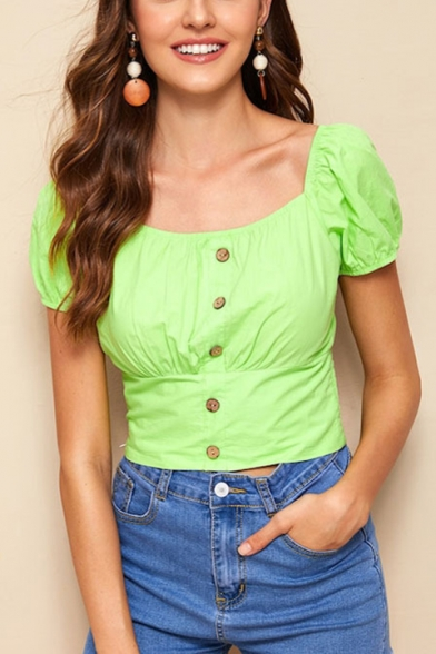 Summer Vintage Square Neck Puff Sleeve Button Down Flourescent Green Fitted Blouse
