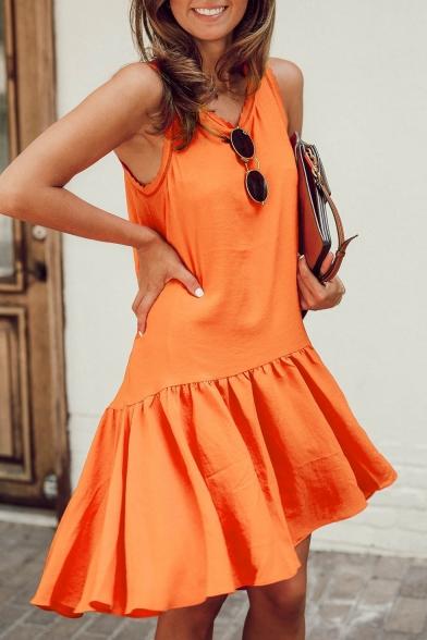 Summer Women's Hot Trendy Simple Plain Round Neck Sleeveless Casual Ruffled Tank Dress