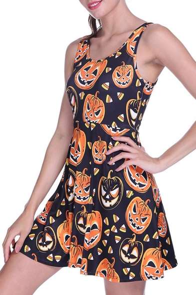 Summer Womens Hot Fashion Halloween Pumpkin Print Sleeveless A-Line Mini Tank Skater Dress