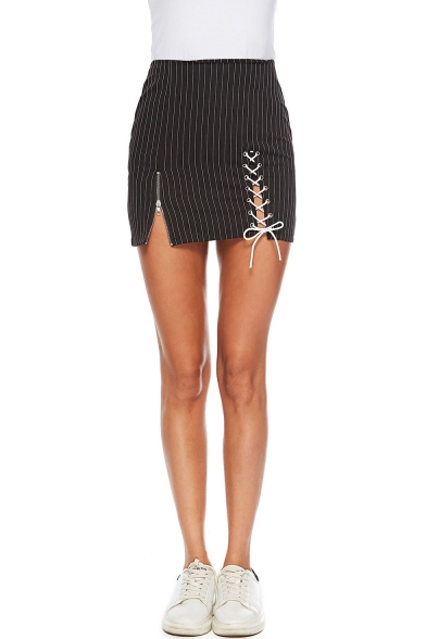 Trendy Black Vertical Stripe Hollow Lace-Up Front Womens Mini Bodycon Skirt