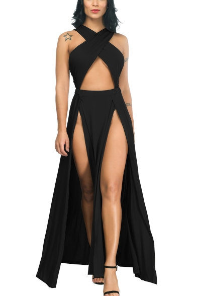 Womens Designer Fashion Crisscross Cutout Front Sleeveless Sexy Split Front Plain Maxi Party Dress