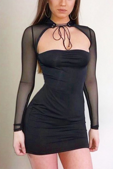 Womens Fashion Sexy Halter Neck Mesh Long Sleeve Plain Black Mini Bodycon Dress