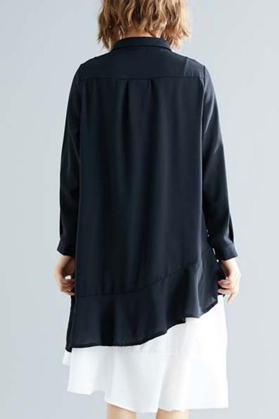 Womens Hot Fashion Stand Collar Pocket Front Button Down Asymmetric Hem Long Sleeve Casual Loose Midi Shirt Dress
