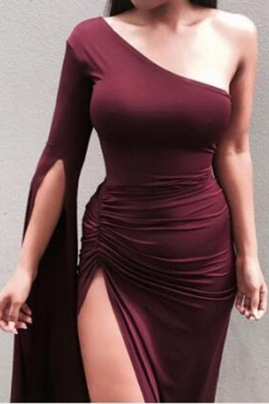 Womens Hot Sale Plain One Shoulder Split Long Sleeves Bandage Maxi Dress