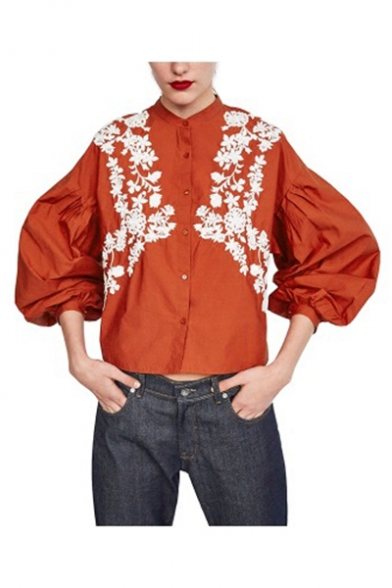 Womens Stylish Floral Embroidered Stand Collar Bubble Sleeve Loose Shirts