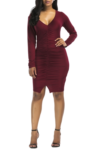 Womens Stylish Simple Plain V-Neck Long Sleeve Ruched Mini Bandage Bodycon Dress
