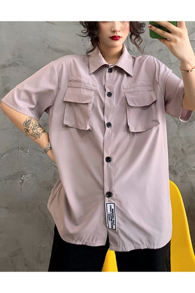 Womens Summer Cool Flap Pocket Front Short Sleeve Button Down Work Shirt