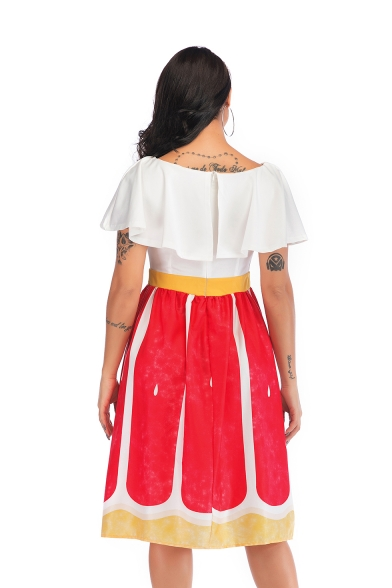 Womens Summer Fancy V-Neck Ruffled Hem Gathered Waist Midi A-Line Dress