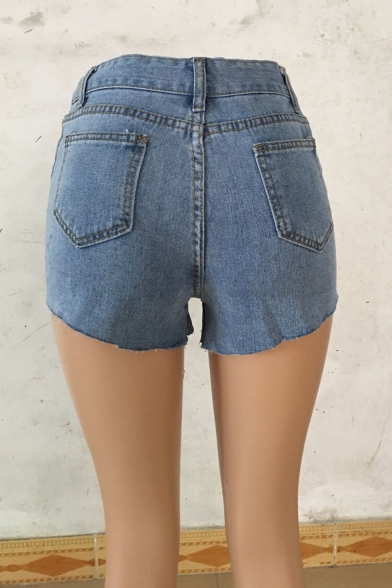 Womens Summer High Rise Destroyed Ripped Denim Shorts