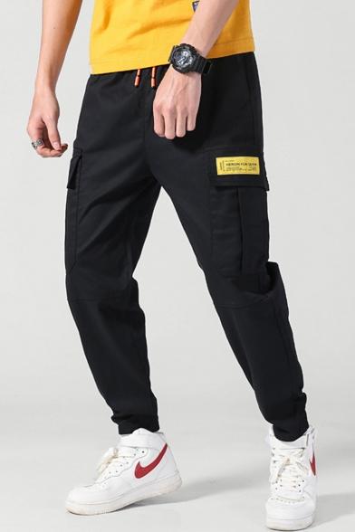 Chic Fashion Letter Patch Flap Pocket Drawstring Waist Men's Black Cotton Casual Cargo Pants