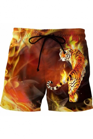 Cool Fashion 3D Fire Tiger Printed Drawstring Waist Yellow Summer Beach Swim Trunks