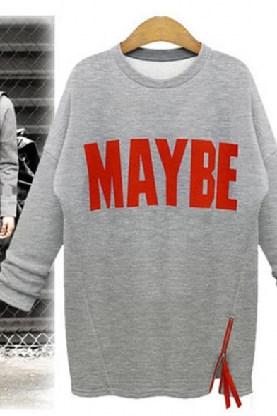 Cool Simple Letter MAYBE Printed Zipper Side Long Sleeve Longline Sweatshirt