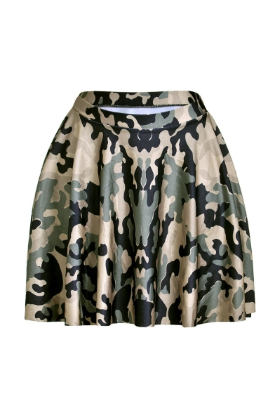 Cool Unique Stylish High Elastic Waist Camouflage Print Pleated Mini Skater Skirt