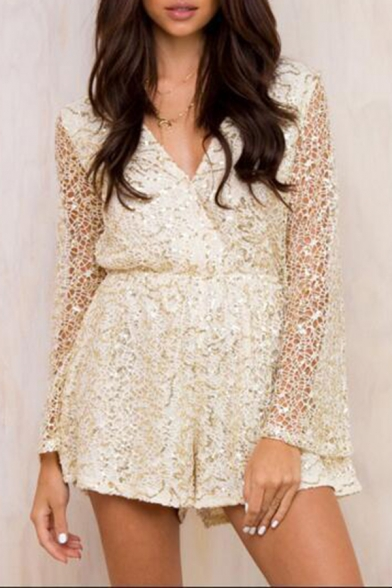 Fashion Hot Sexy Plunge V Neck Long Sleeve Sequin Embellished Gather Waist Cutout Lace Rompers