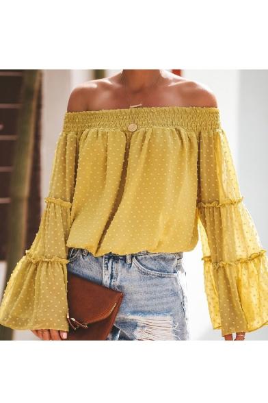 Fashion Womens Plain Off Shoulder Swiss Dot Bell Sleeve Beach Chiffon Blouse