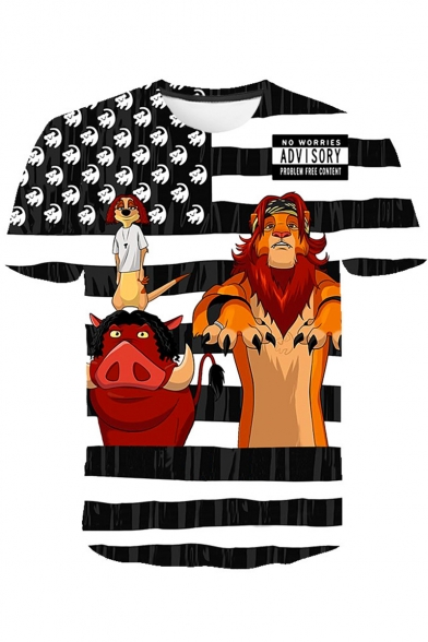 Funny The Lion King Striped Short Sleeve Loose Fit T-Shirt