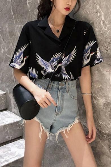 Girls Summer Vintage Crane Printed Notched Lapel Collar Short Sleeve Button Down Shirt