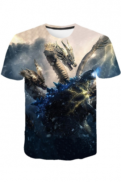 Godzilla King of the Monsters Cool 3D Printed Short Sleeve T-Shirt