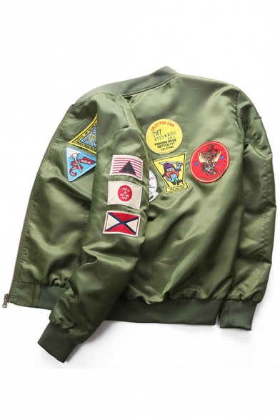 Guys Fashion Patched Stand Collar Long Sleeve Zip Up Bomber Jacket