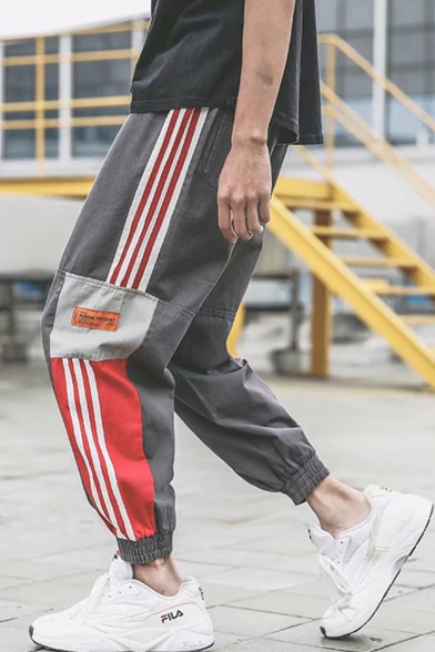 Guys Popular Fashion Contrast Three Bars Stripe Side Casual Loose Tapered Cotton Track Pants