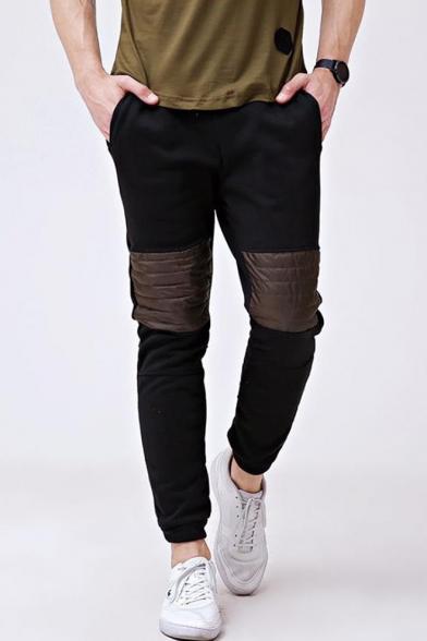 Hot Fashion Contrast Patched Casual Sport Cotton Sweatpants for Men
