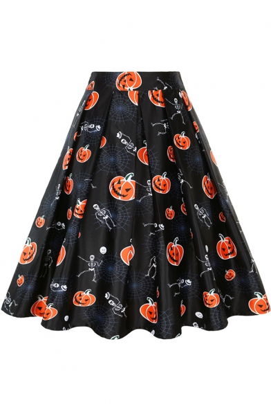Hot Fashion Halloween Cartoon Pumpkin Skull Print Midi A-Line Pleated Skirt