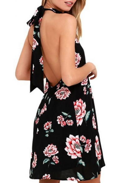 Hot Popular Chic Floral Printed Halter Neck Sleeveless Open Back Mini A-Line Dress