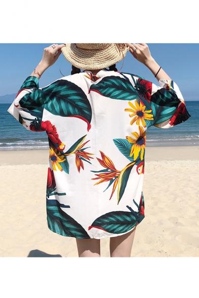 Hot Stylish Sunflower Leaf Printed Tie Waist Chiffon Holiday Beach Sunscreen Cardigan Shirt