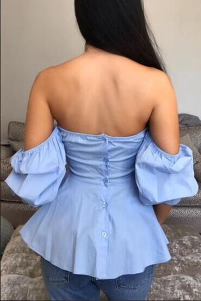 Hot Trendy Womens Plain Off the Shoulder V-Neck Puff Sleeve Blue Ruffled Blouse Top
