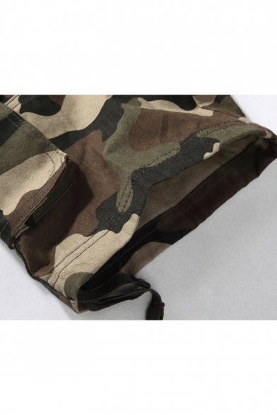 Men's Cool Fashion Camouflage Printed Flap Pocket Side Ribbon Embellished Loose Cotton Cargo Shorts