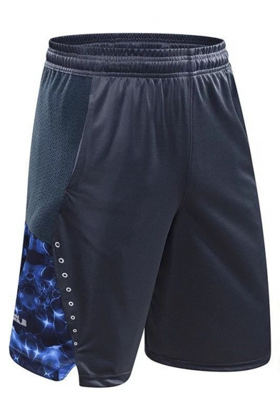 Men's Fashion Popular Printed Embroidery Detail Drawstring Waist Loose Fit Quick-drying Basketball Shorts