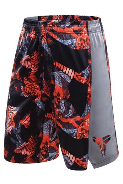 Men's Hot Fashion Popular Printed Elastic Waist Loose Fit Basketball Shorts