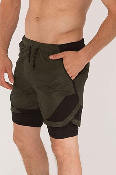 Men's Popular Fashion Camouflage Printed Fake Two Pieces Drawstring Waist Athletic Shorts
