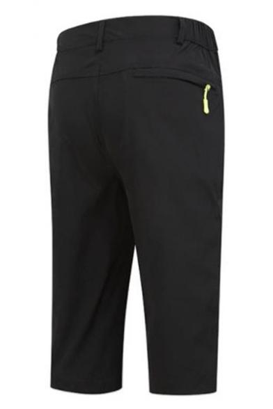 Men's Popular Fashion Simple Plain Elastic Waist Zipped Pocket Outdoor Hiking Shorts
