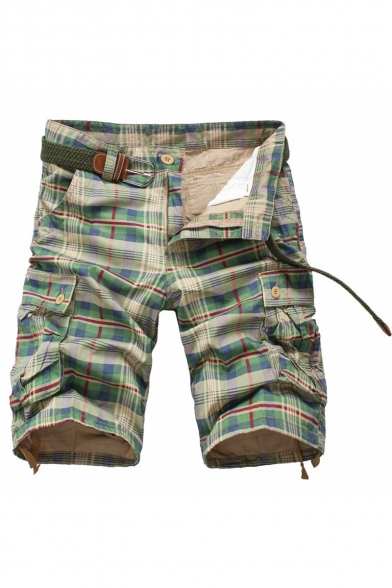 Men's Summer New Stylish Plaid Pattern Multi-pocket Design Zip-fly Cotton Cargo Shorts