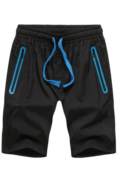 Men's Summer Trendy Contrast Zipped Pocket Drawstring Waist Relaxed Sports Active Shorts