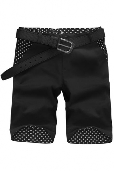 Men's Summer Trendy Polka Dot Pattern Slim Fit Casual Cotton Chino Shorts