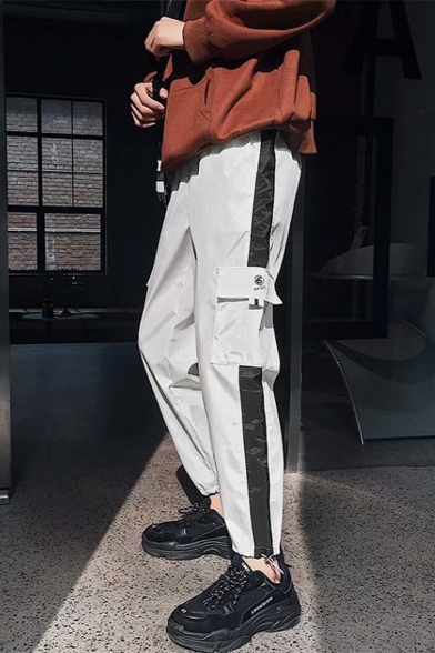 Men's Trendy Letter Printed Flap Pocket Side Contrast Tape Patched Drawstring Waist Casual Cargo Pants