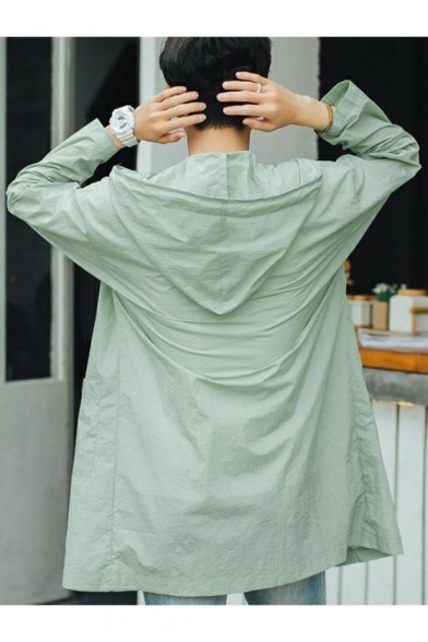 Mens New Trendy Simple Plain Long Sleeve Outdoor Sun Protection Zip Up Hooded Longline Skin Jacket Coat