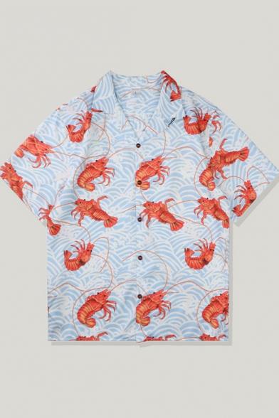Mens Unique Fashion Lobster Print Short Sleeve Light Blue Button Camp Shirt
