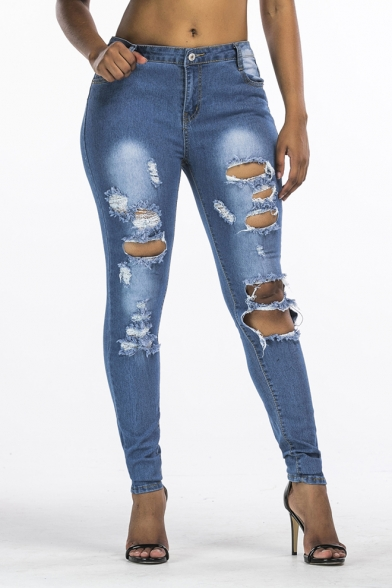 New Fashion Ripped Hole Distressed Blue Skinny Fit Jeans for Women