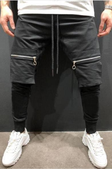 New Fashion Zipped Pocket Drawstring Waist Slim Fit Joggers Pencil Pants for Men