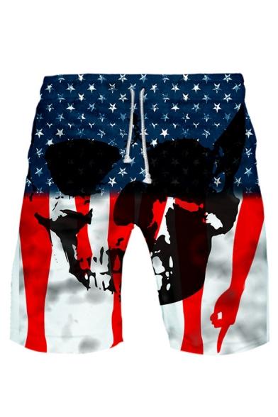 Popular Fashion Independence Day Skull Printed Drawstring Waist Cotton Sweat Shorts
