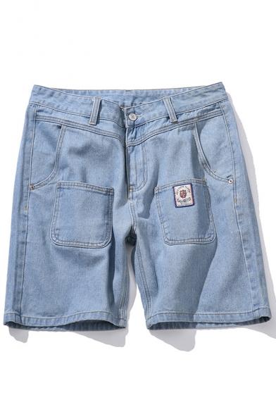 Stylish Light Blue Washed Multi-pocket Design Zip-fly Casual Denim Shorts for Men