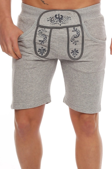 Summer Fashion Floral Embroidery Pattern Elastic Waist Slim Fit Cotton Sports Sweat Shorts for Men