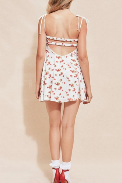 Summer Girls Sweet Allover Cherry Printed Open Back Bow-Tied Straps Mini Beach Cami Dress