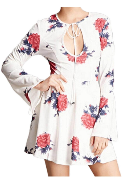 Summer Hot Fashion Cutout Tie-Front White Flare Sleeves Floral Print Mini A-Line Dress