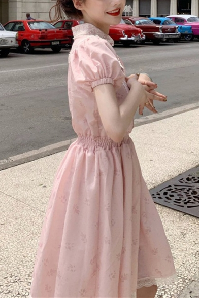 Summer Hot Stylish Pink Printed Vintage Puff Sleeve Elastic Waist Patch Lace Trim Mini A-Line Dress